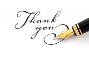 Fountain pen calligraphy writing thank you